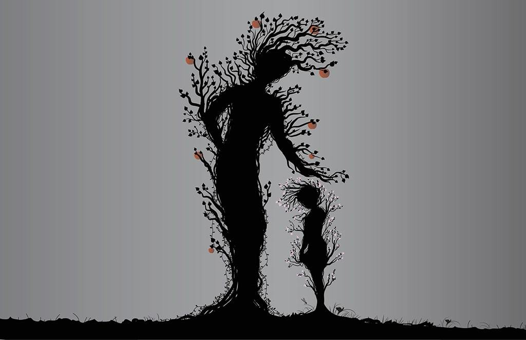 A Silhouette Illustration Of Two Trees Depicts An Apple Tree In Female Form Reaching Downward To Touch A Flowering Tree In Child Form