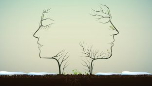 An Illustration Of Two Trees With The Branches Depicting The Faces Of A Woman And Man Facing Away From Each Other With Small Plants Growing Between Them