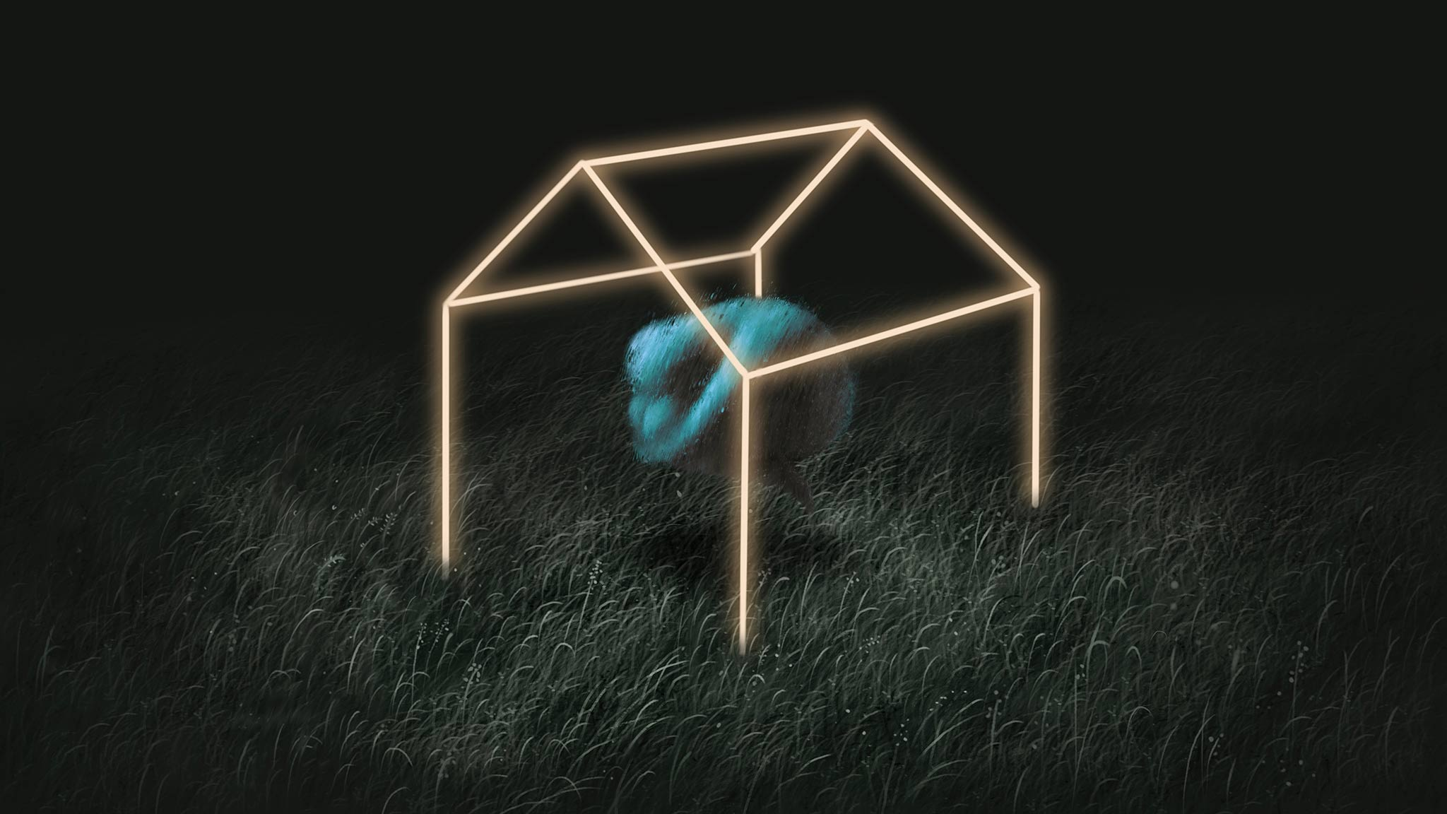 Illustration Of Human Figure In Fetal Position, Trapped Within The Glowing Outline Of A House, Loneliness Concept