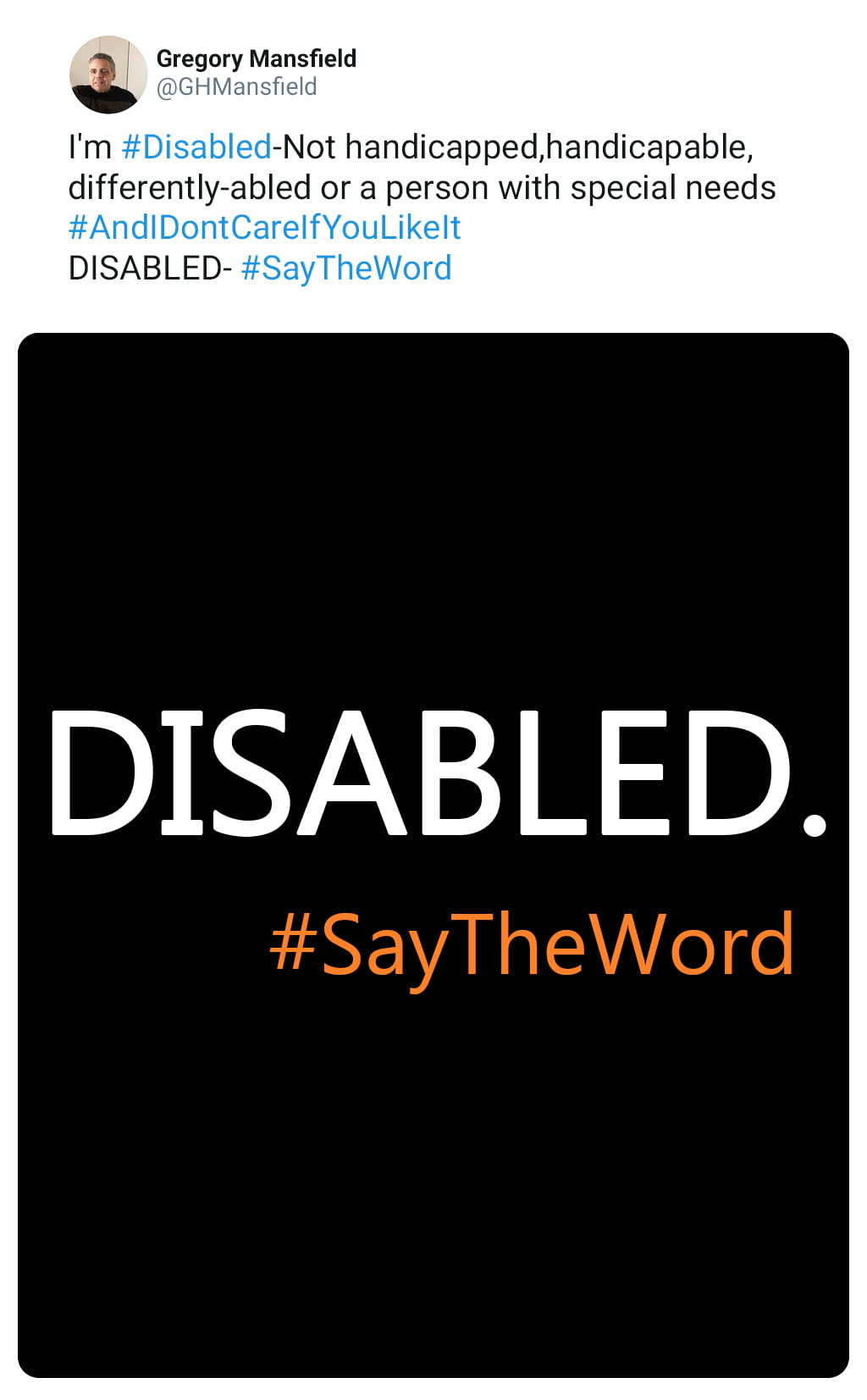 Screenshot Of A Tweet Explaining The Importance Of Using And Understanding The Word Disabled