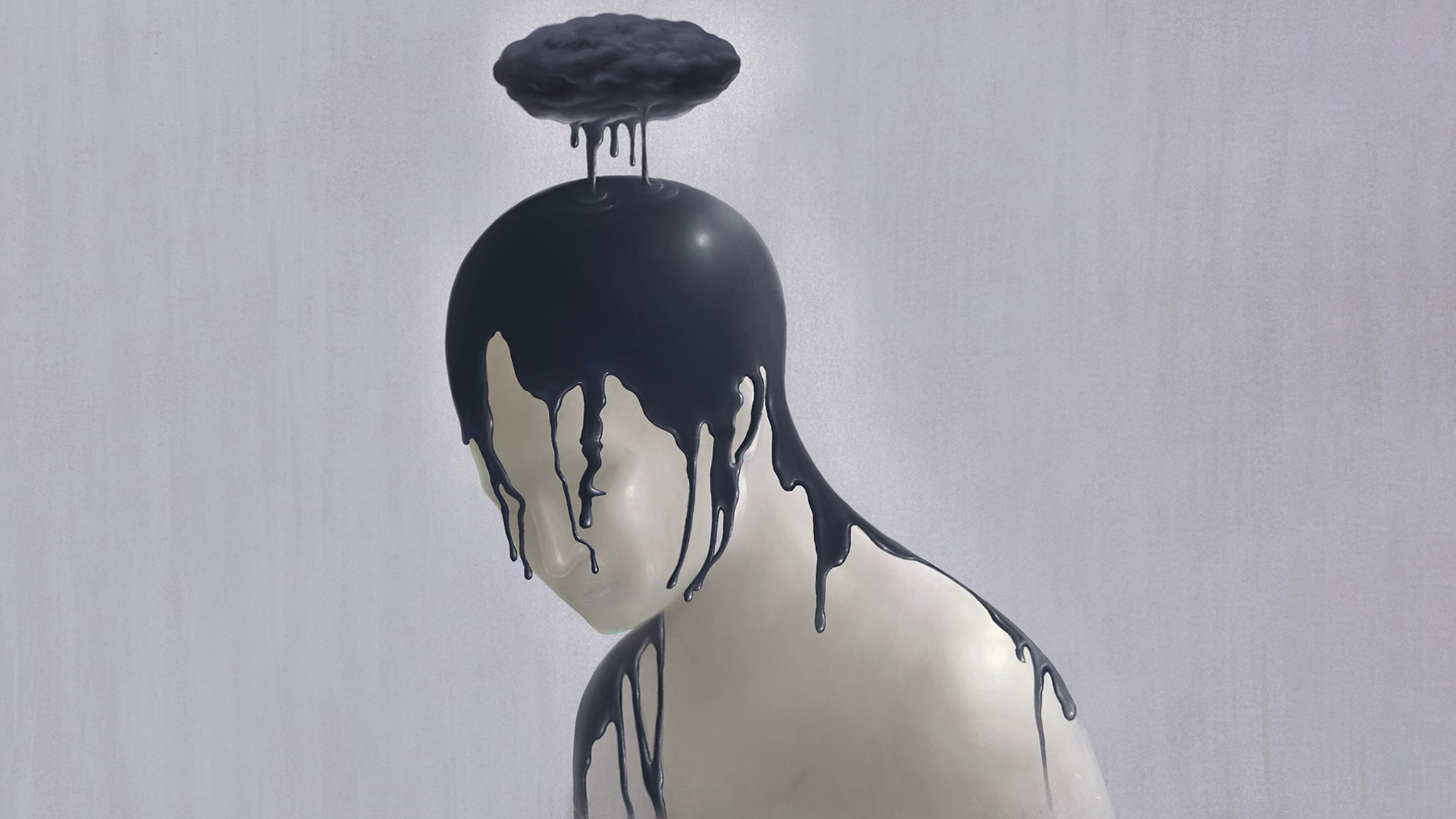 Surreal Illustration Of A Person Made Of Stone With A Black Dripping Cloud Above Their Head To Illustrate Chronic Loneliness