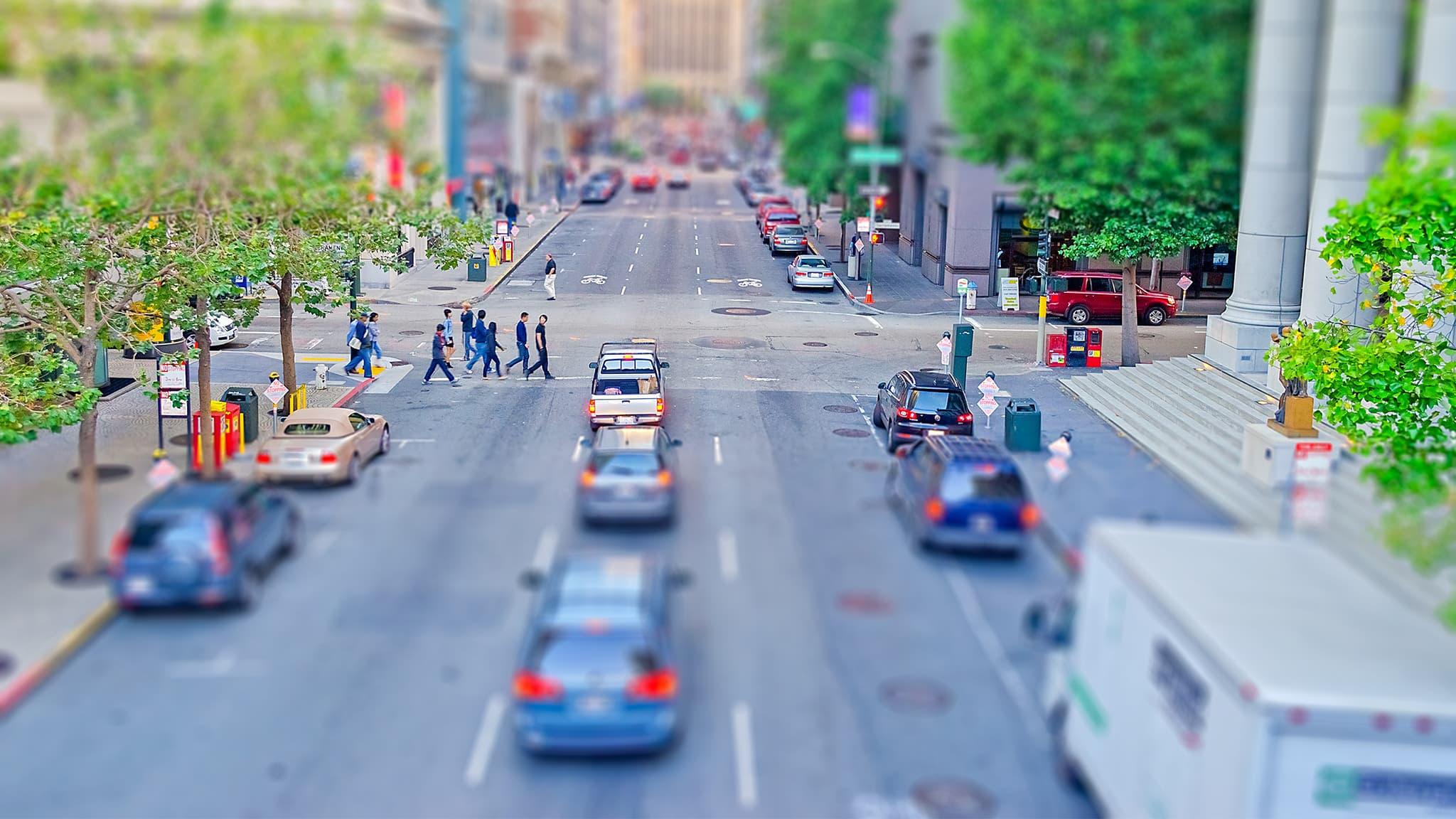Tilt-Shift Photograph Of A Busy City Street