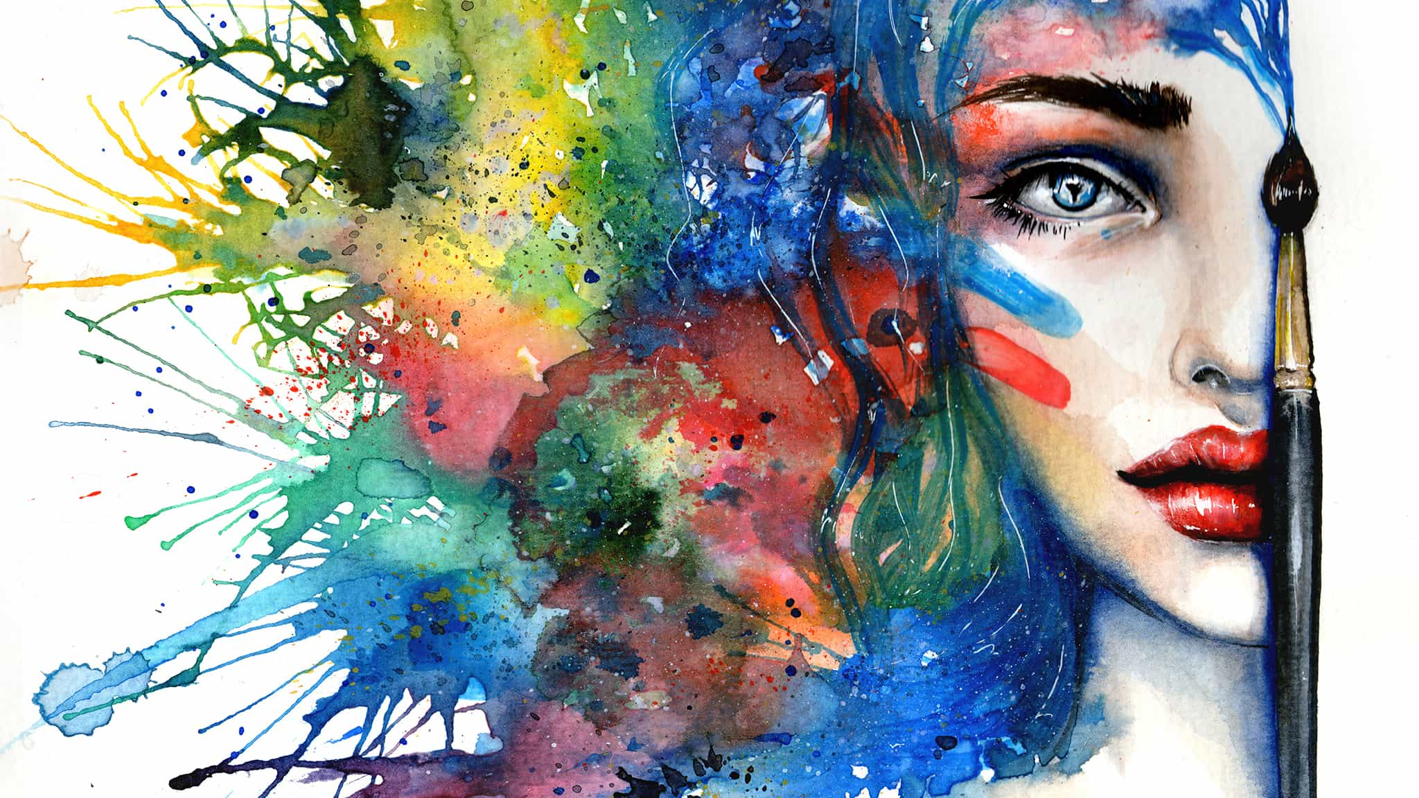A Painting Of Half Of A Woman's Face With Colorful Splashes Of Color As Hair To Illustrate Creativity