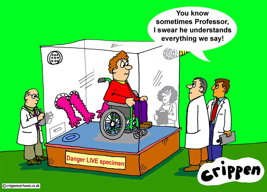 A Humorous Cartoon Depicting A Disabled Person In A Wheelchair Seeled Behind Glass To Protect The Able-Bodied Scientists That Look On And Make Condescending Comments Or Othering Him
