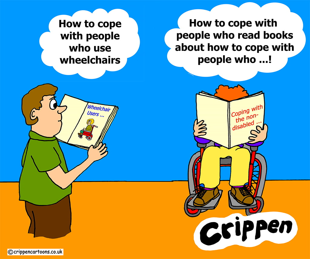 A Cartoon With Two People, One Disabled And One Able-Bodied Both Humorously Reading Books About How To Cope With The Other