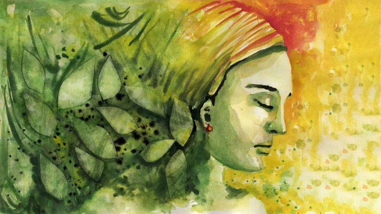 Colorful Silhoutte Painting Of Thoughtful Woman Wearing Headwrap, Changing Seasons And Location Concept