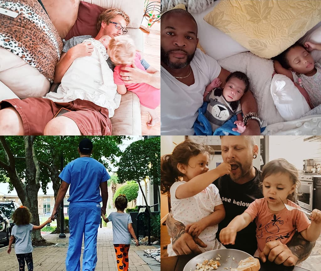 Montage Of 4 Images Showing 4 Different Men With Their Children In Various Settings