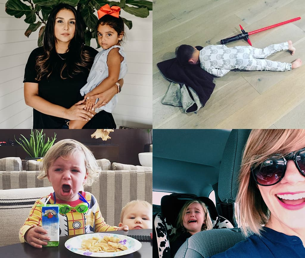 Montage Of 4 Images Showing Various Women's Personal Images Of Mom Guilt