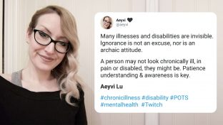 Twitter Post Describing A Woman's Experience With Disability Next To A Portrait Of Her Smiling