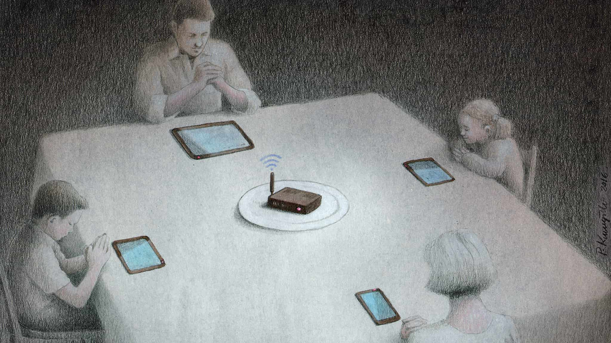 Dark Humor Illustration About Technology Of A Family Saying Grace Before Dinner As They Pray To Their Phones And WiFi Router