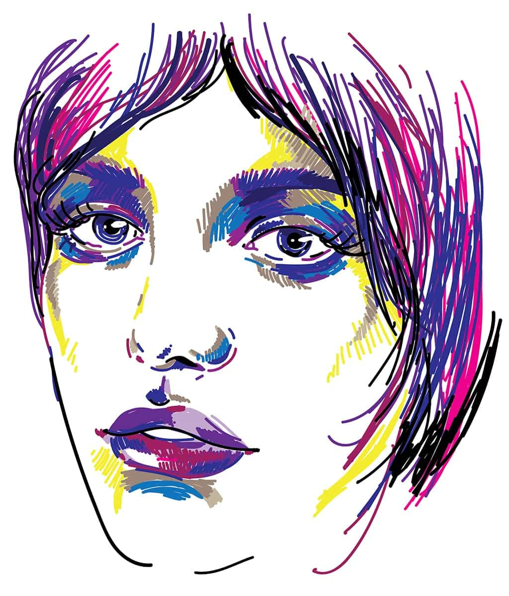 Colorful Sketch Of The Face Of An Androgynous Person