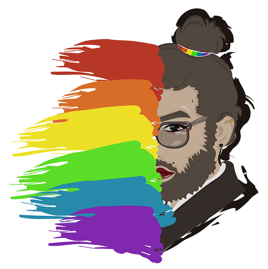 Abstract Illustration Of An LGBTQ Individual With Half Of Their Face Turning Into The Pride Colors
