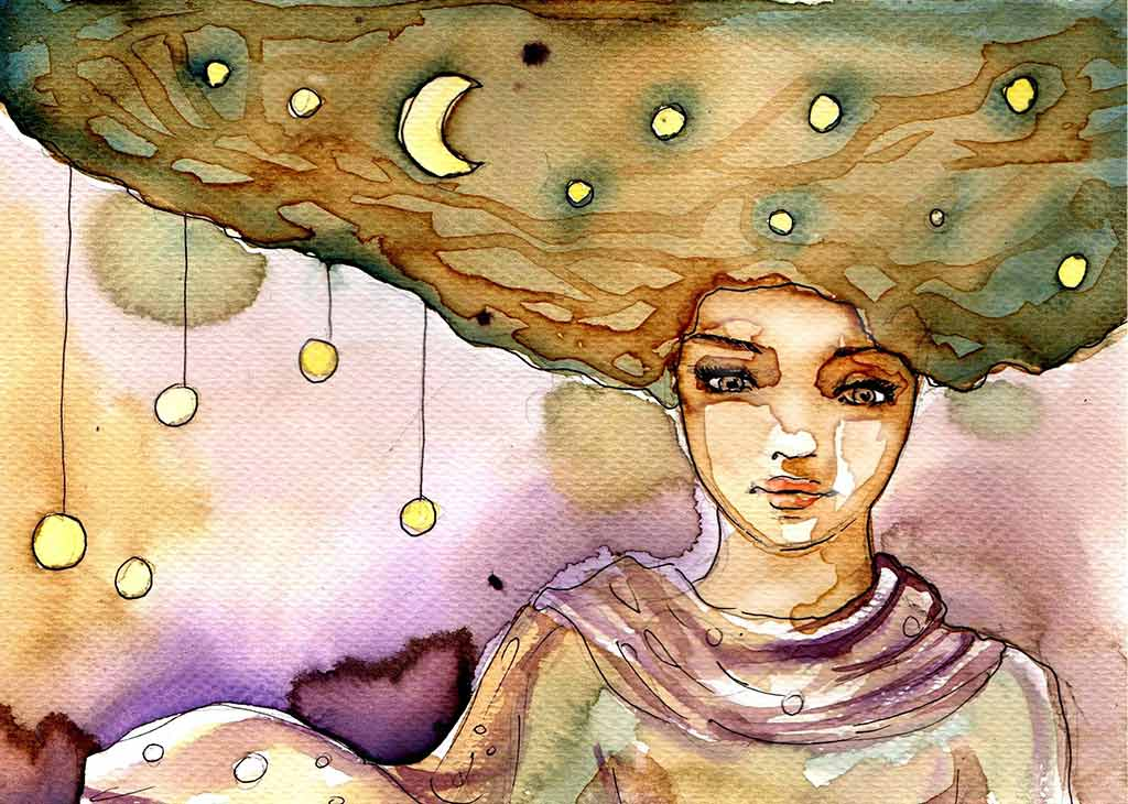 Abstract Watercolor Painting Of Pensive Young Woman With Crescent Moon And Stars In Her Hair