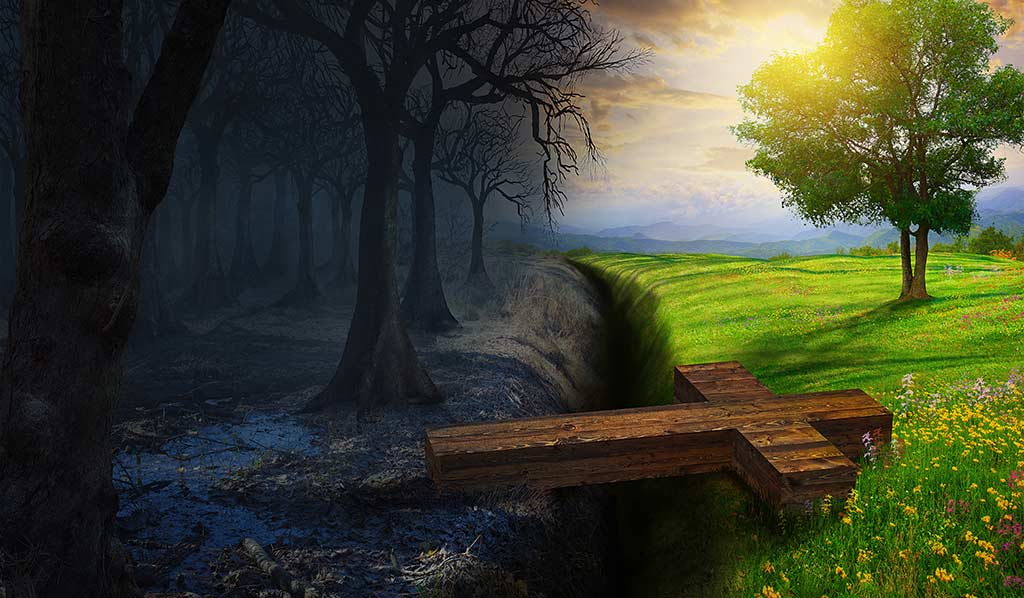 Cold Desolate Landscape Joined With Sunny Green Landscape Bridged By A Wooden Cross
