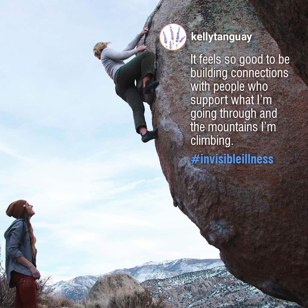 Instagram Post Of A Disabled Woman Rock Climbing With A Quote Describing The Importance Of Disabled People Building Connections With Others