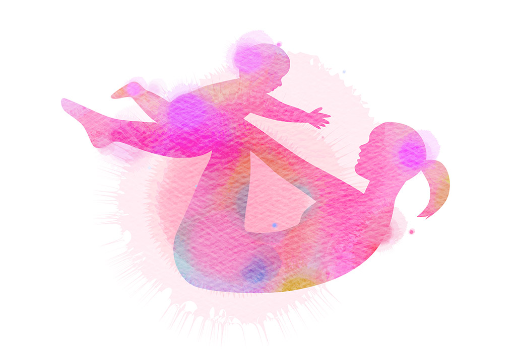 Illustrated Watercolor Silhouette Of Woman Rocking On Her Back While Holding A Baby Above Her