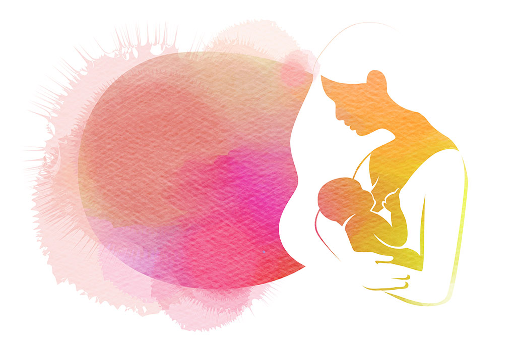 Illustrated Watercolor Silhouette Of Woman Breastfeeding Baby In Pink And Red Hues