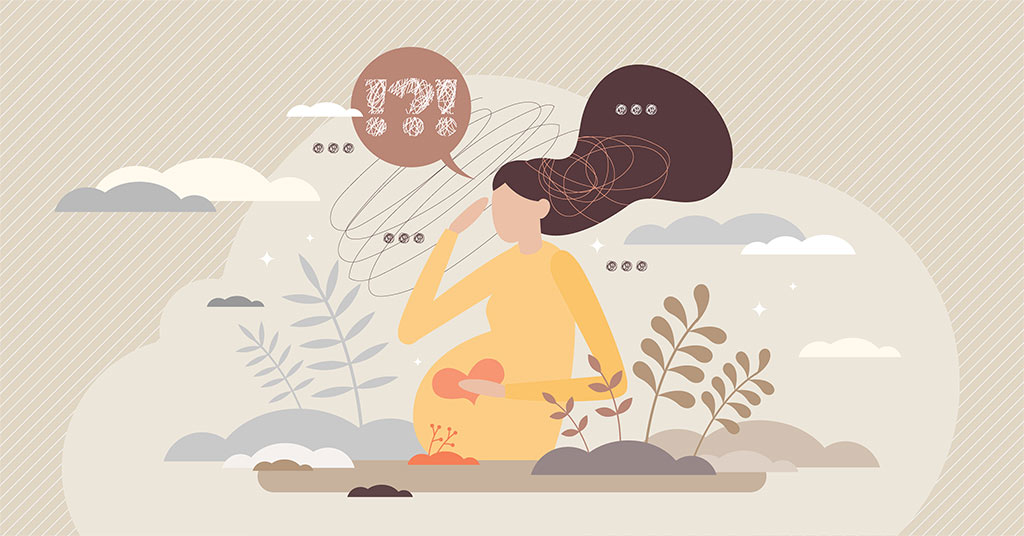 Vector Illustration Of Pregnant Woman Sitting With Her Hand On Her Belly, Confusion Concept