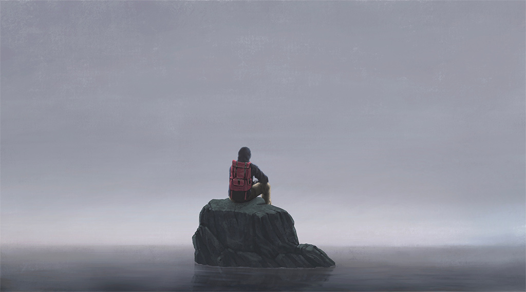 Painting Of Backpacker Sitting On Small Rock Surrounded By Water On An Overcast Day