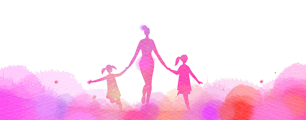 Illustrated Watercolor Silhouette Of Woman Walking Hand-In-Hand With Two Young Girls