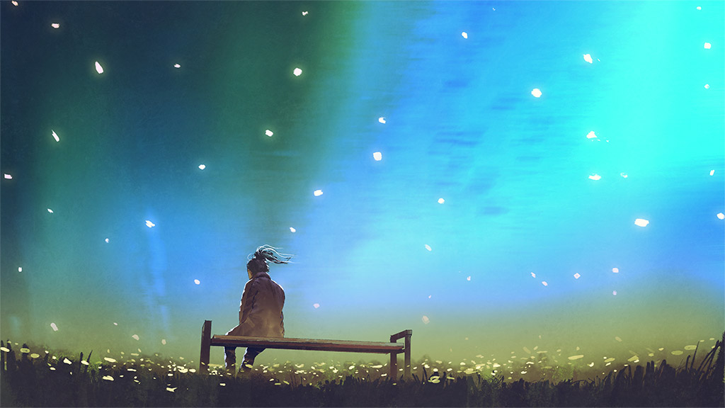 Illustration Of Woman Sitting Alone On A Bench In A Field Of Flowers With Petals Fluttering In The Air