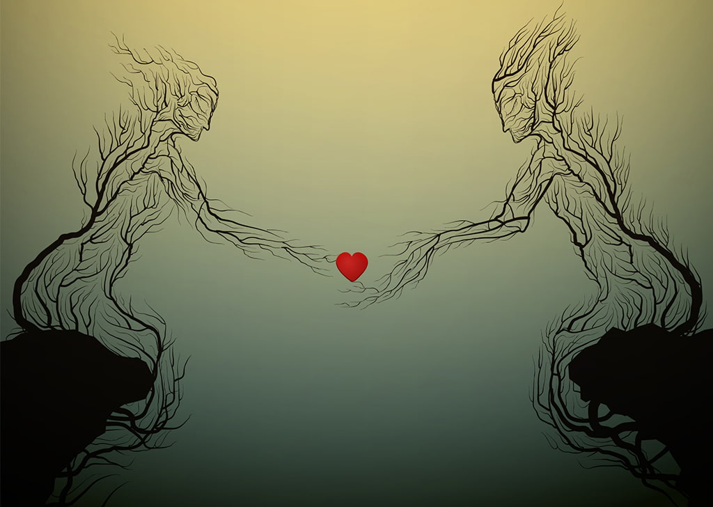 An Illustration Of Bare Trees Depicts The Forms Of A Woman And Man, Each Seated On Cliffs Opposite One Another And Reaching Toward A Red Heart In The Space Between Them