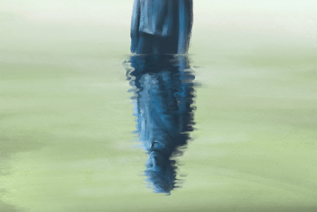 Painting Of Young Man Looking Down At His Muddled Reflection In Water, Loneliness Concept