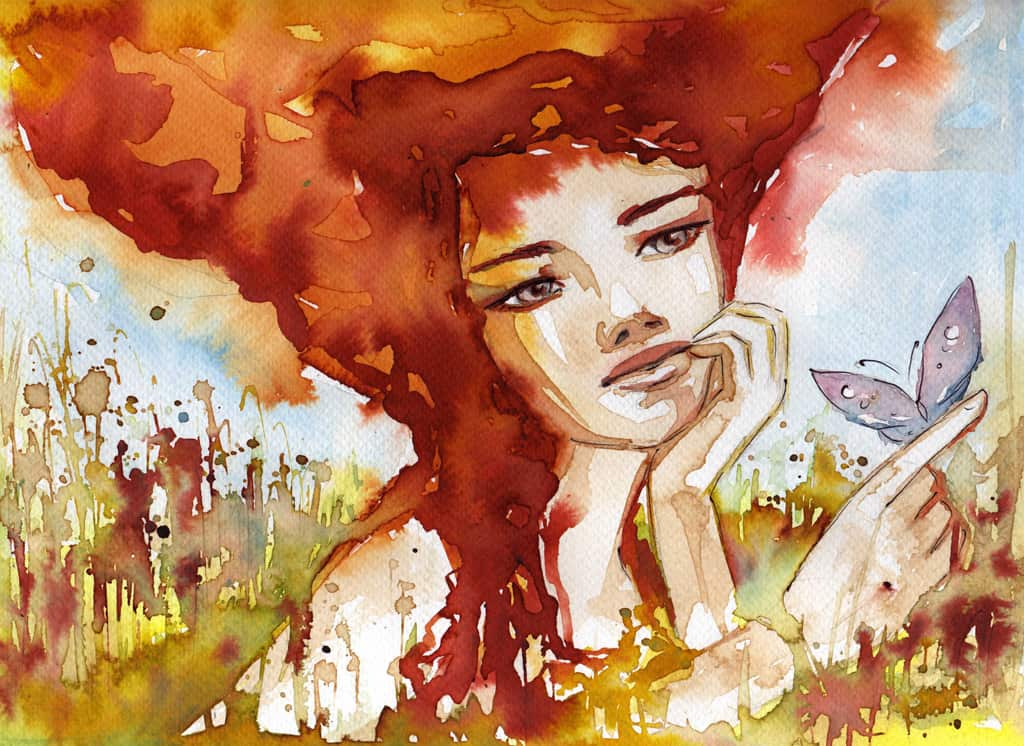 A Watercolor Painting Portrays A Young Woman With Flaming Red Hair Resting Her Chin In One Hand And Looking At A Light Purple Butterfly Landing On Her Other Hand