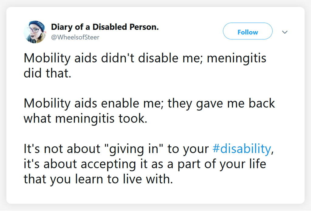 Screenshot Of A Tweet Explaining A Disabled Person's Ability To Live With Disability