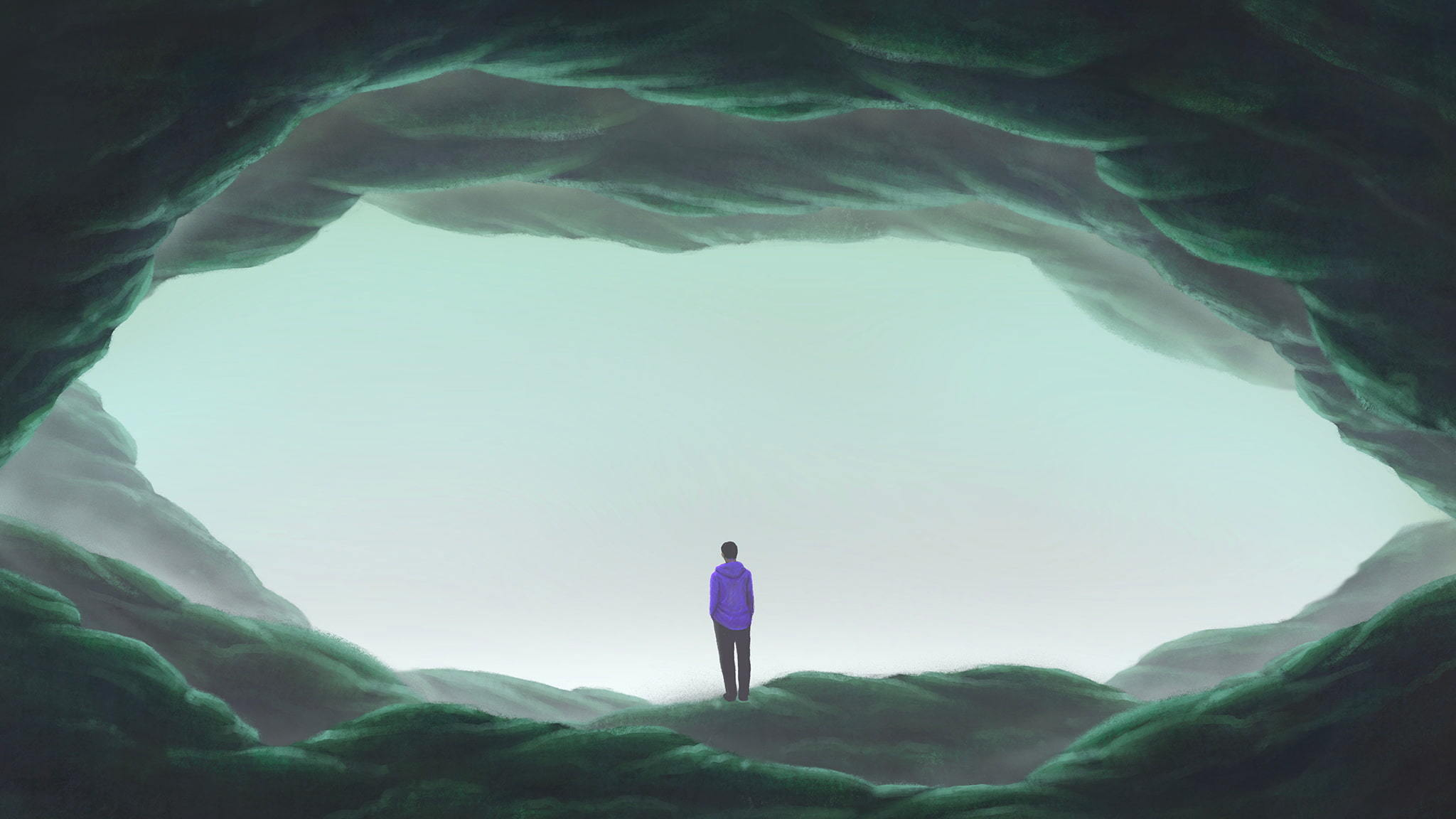 Surreal Illustration Of A Man Standing Alone In A Large Cave