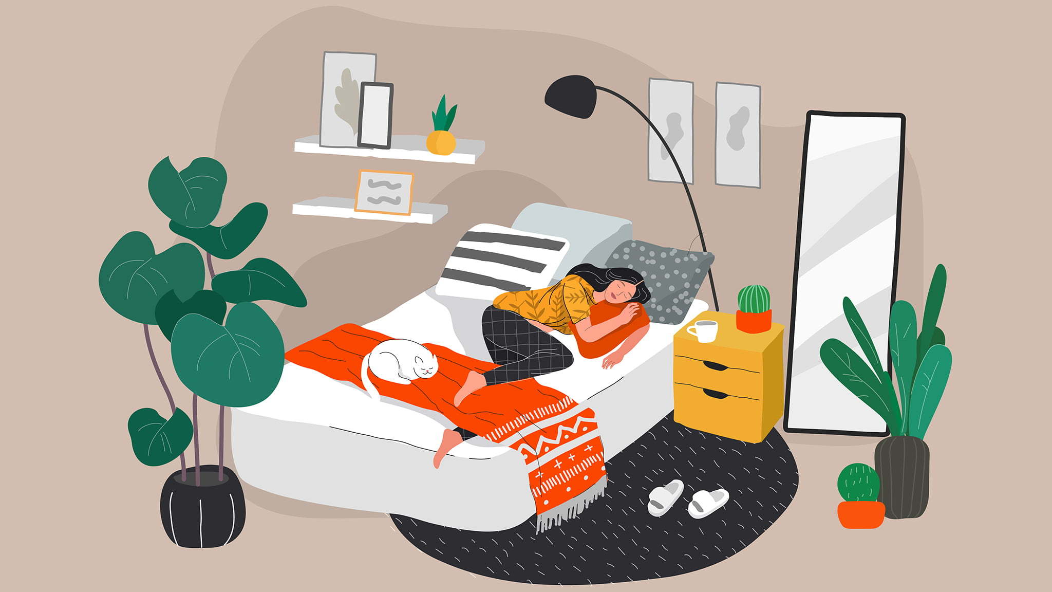 A Vector Illustration Of A Young Woman Asleep In A Trendy Bedroom Alone
