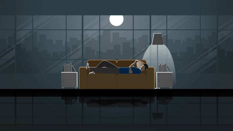 Vector Illustration Of Man Laying On Couch Alone With Moonlight Cityscape Visible Through Vast Windows, Loneliness Concept
