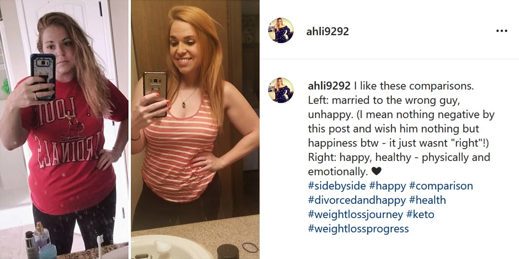 Social Media Post Including A Before And After Divorce Side By Side Of A Woman Who Is Happy And Healthy After Divorce