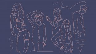 Vector Line Sketch Of Six Young Adults In Various Poses, Each Alone In Contemplation