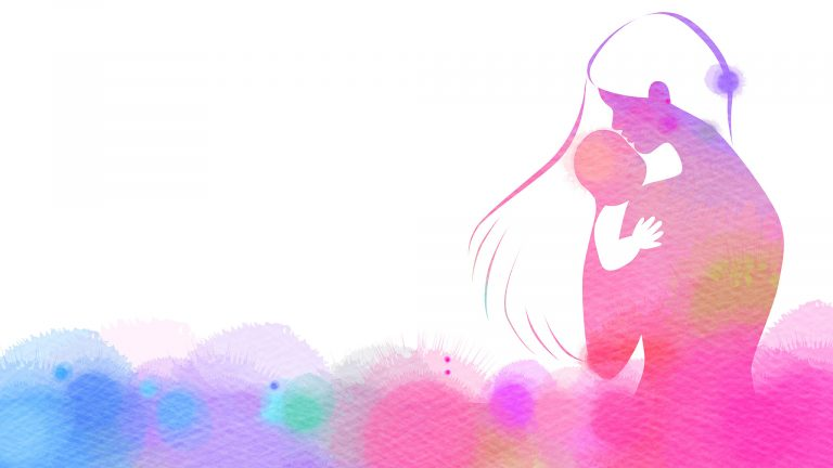 Illustrated Watercolor Silhouette Of Woman Holding Baby In Rainbow Of Colors
