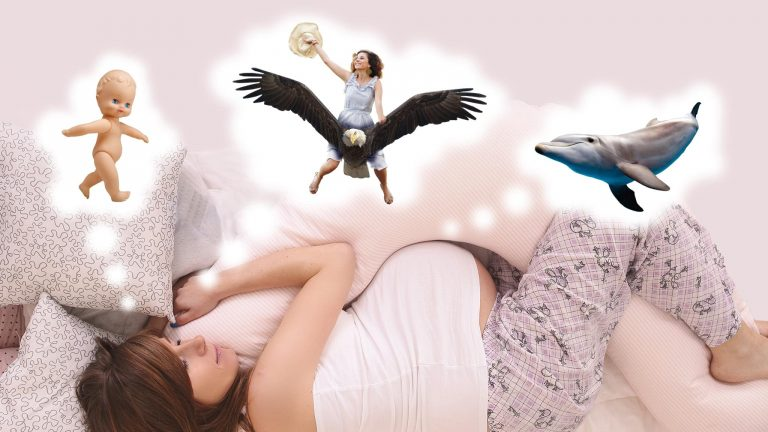 Image Of A Pregnant Woman Sleeping With Three Thought Bubbles Signifying Dreaming Showing Various Scenarios