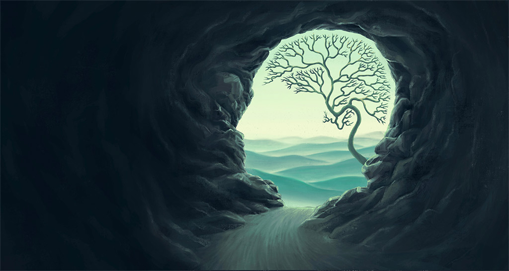 Painting Of Head-Shaped Cavern Opening Against Sky With A Tree's Branches Signifying A Brain