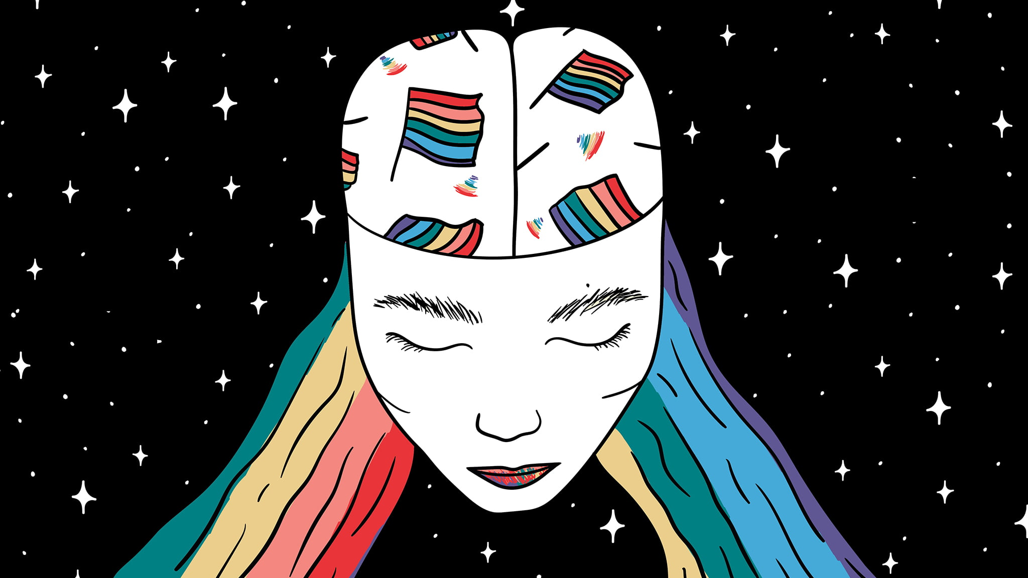 Abstract Illustration Of A Queer Woman's Face With Her Eyes Closed And Rainbow Colored Hair And Head Scarf With A Star Background Signifying Queer Loneliness