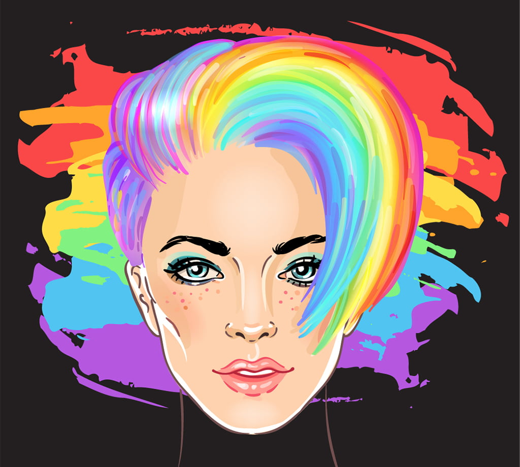 Abstract Illustration Of An LGBTQ Woman With Her Hair The Color Of The Pride Rainbow Against A Black Backdrop Also Painted With The LGBTQ Pride Colors