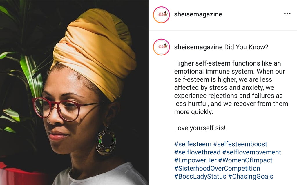 A Social Media Post Encouraging High Self Esteem With An Image Of A Young Self Confident Woman