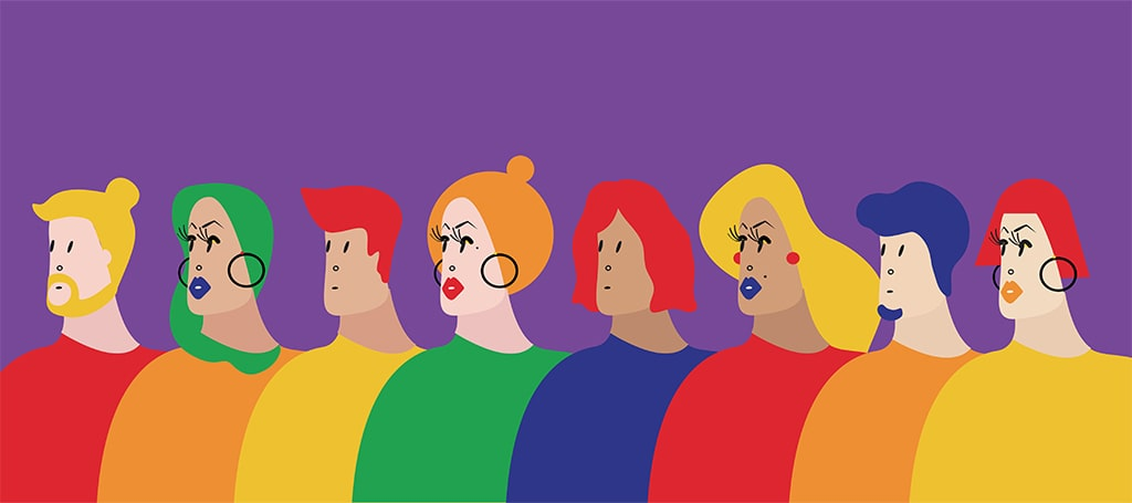 Multi-Colored Illustration With Eight People Of Varied Gender Presentations Standing Shoulder-To-Shoulder Against A Purple Background