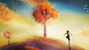 Digital Painting Of Young Person Running Toward Autumn Tree At Sunrise, Hope Concept