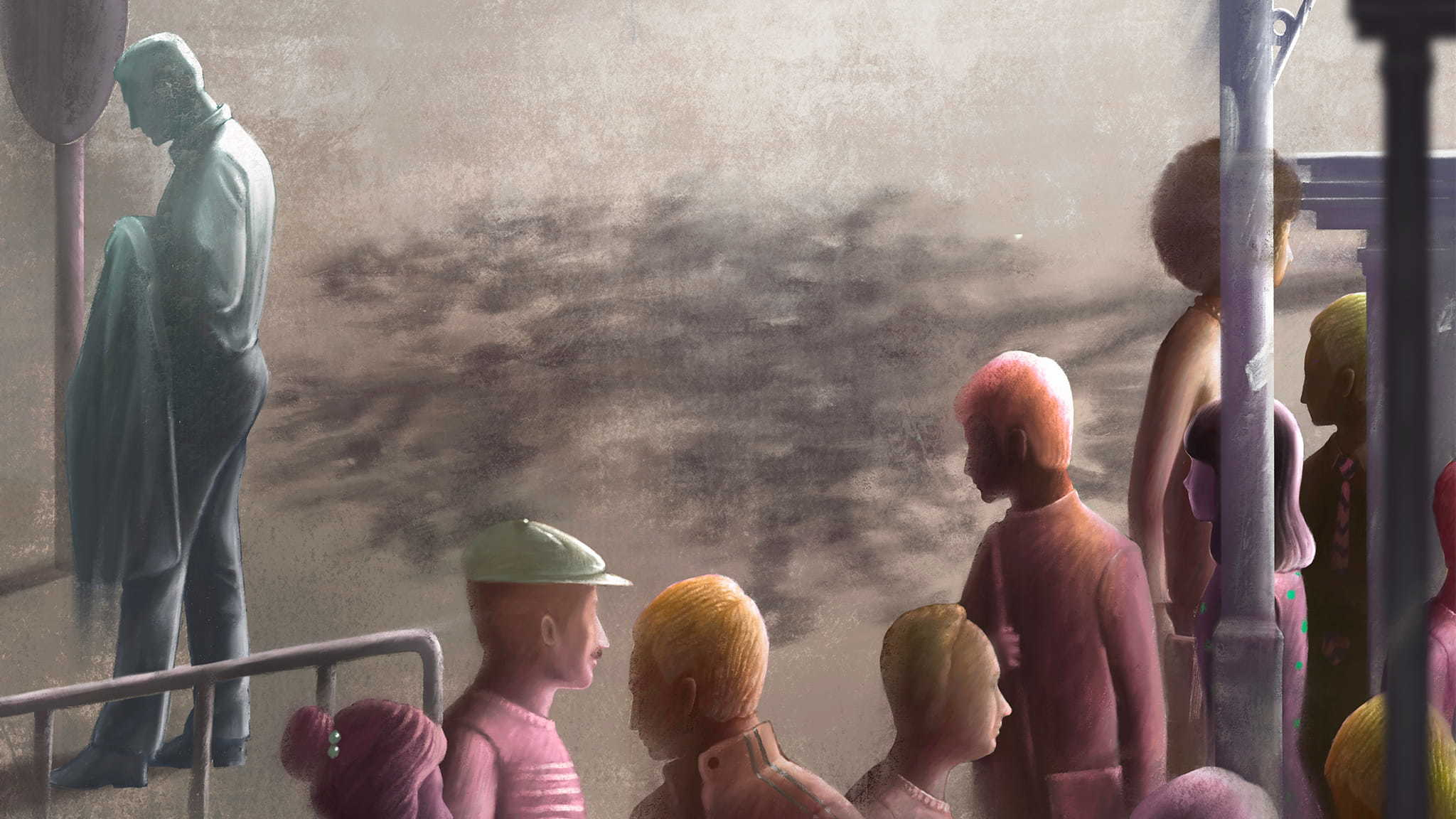 Surreal Style Illustration Of A Sad Man Standing Alone Near A Crowd Of Happy People