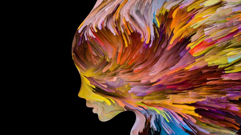 Abstract Silhouette Of Woman's Face Depicted Through Colorful Paint Strokes In Motion To Convey Inner Reflection And Turmoil