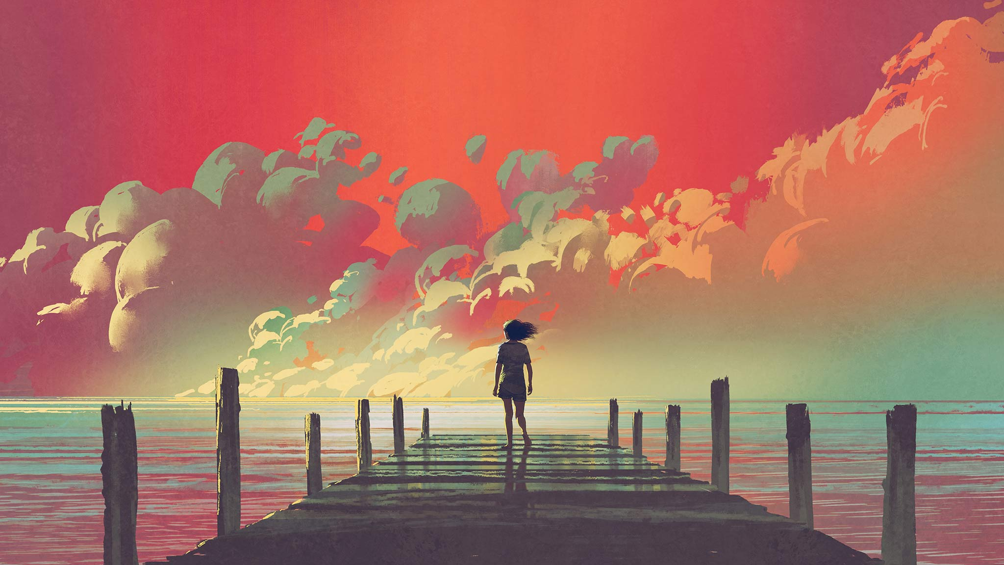 Painting Of Young Woman Standing Alone On The Edge Of A Dock During Sunset