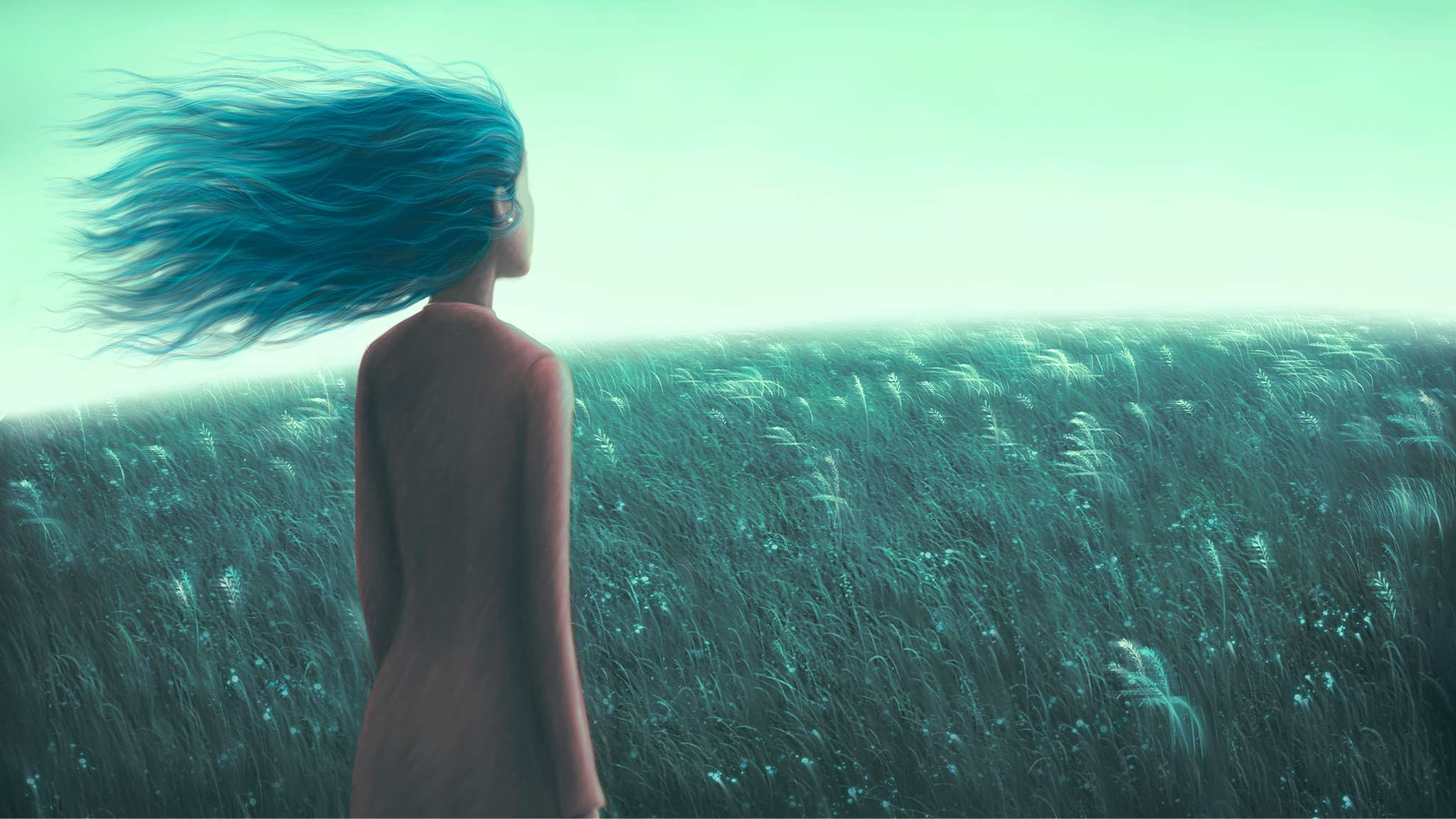 Digital Painting Of Young Woman Looking Across Grassy Field Toward Horizon, Hope Concept