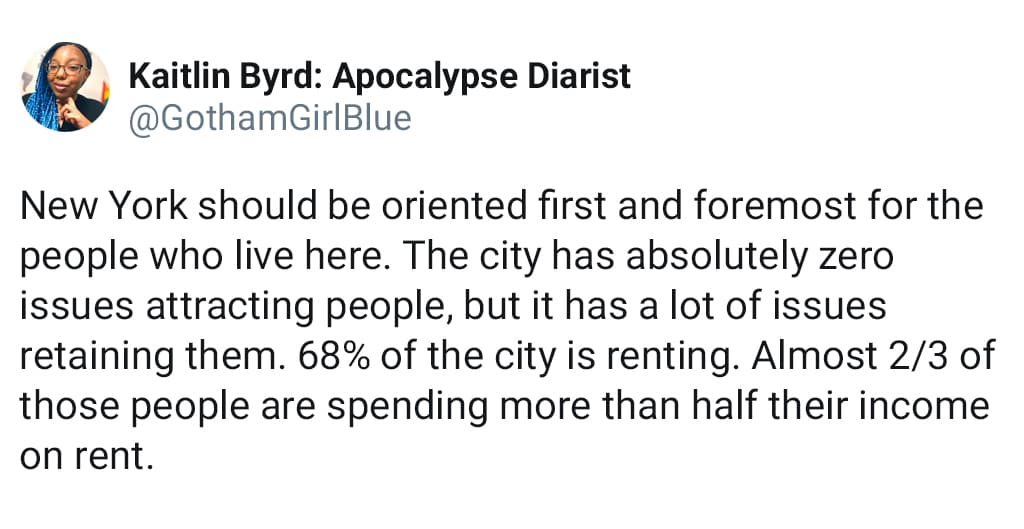 Social Media Post About Rent In The City Being So High That It Can Be Difficult To Retain People