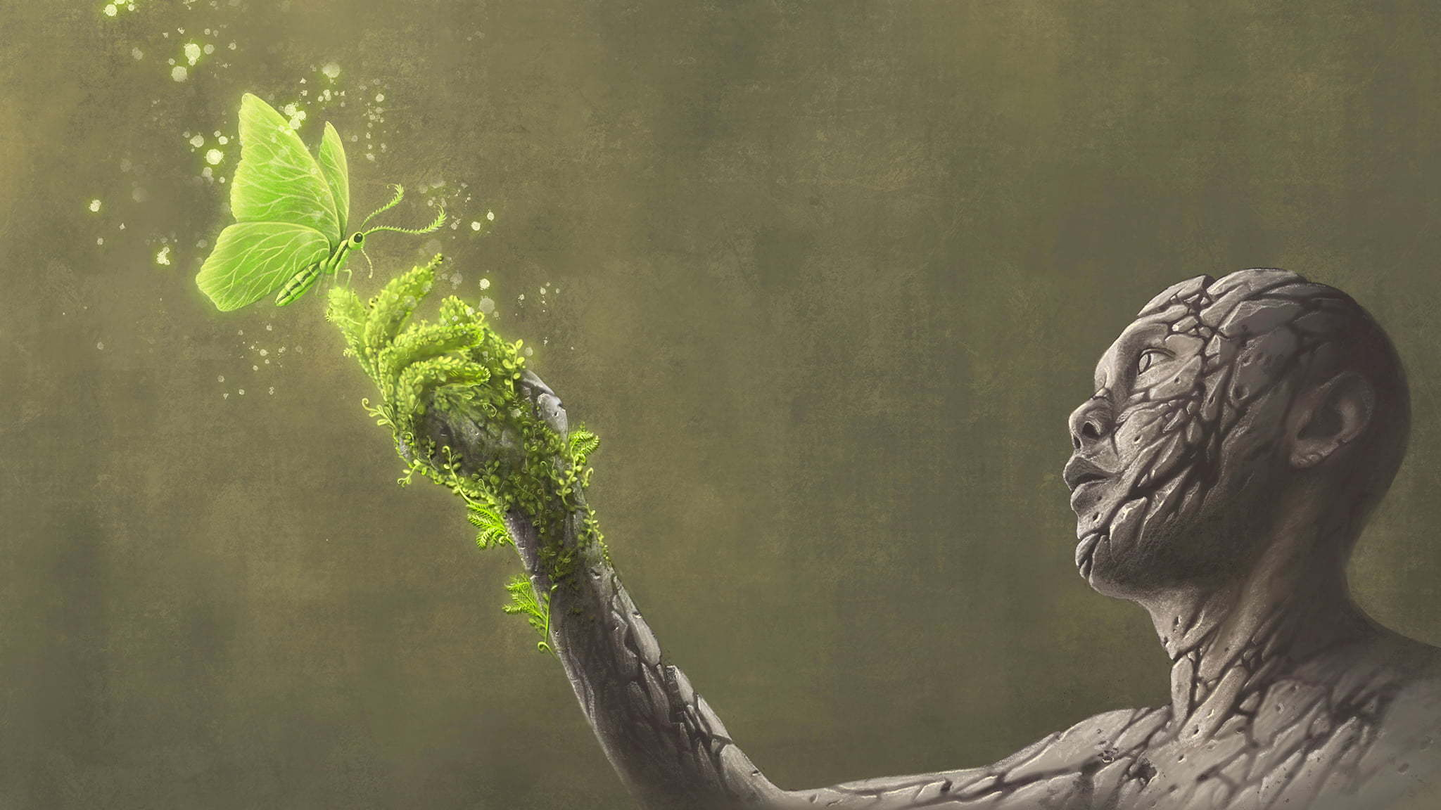 Surreal Illustration Of A Stone Man With Cracks And A Green Butterfly Landing On His Hand And Leaving Behind Green Moss To Symbolize Healing And Regrowth