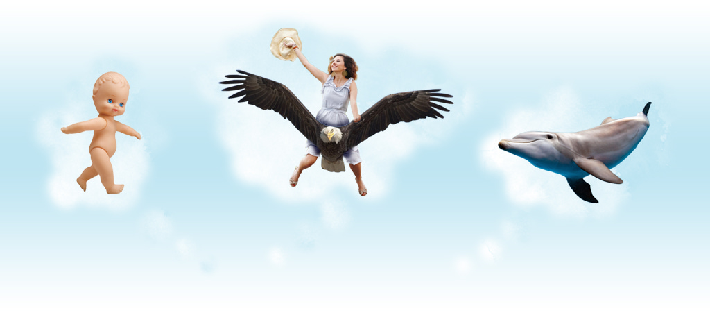 Image Showing 3 Dream Bubbles Of A Plastic Doll, Dolphin, And Woman Riding An Eagle Signifying Weird Pregnancy Dreams