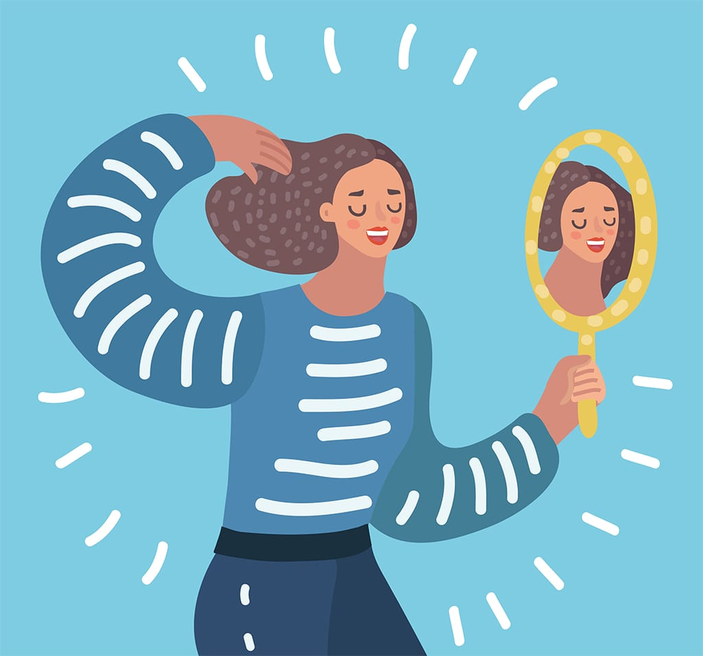 Illustration Of Person With Long Hair Looking At Themselves In A Yellow Handheld Mirror
